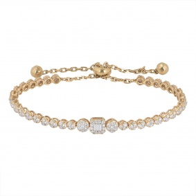 Rose Gold Illusion Set Diamond Line Bracelet